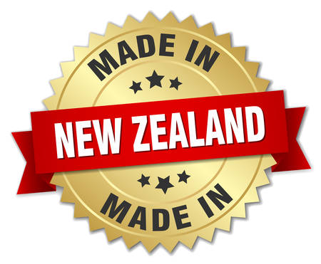 zealand: made in New Zealand gold badge with red ribbon Illustration