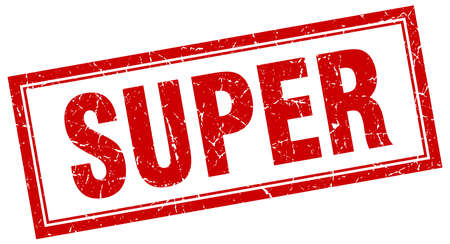 super red: super red square grunge stamp on white Illustration