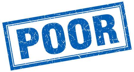 poor: poor blue square grunge stamp on white