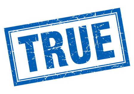 true: true blue square grunge stamp on white