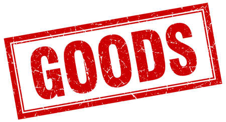 white goods: goods red square grunge stamp on white