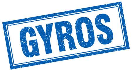 gyros: gyros blue square grunge stamp on white
