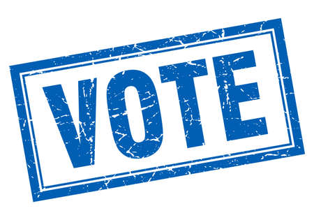 vote blue square grunge stamp on white