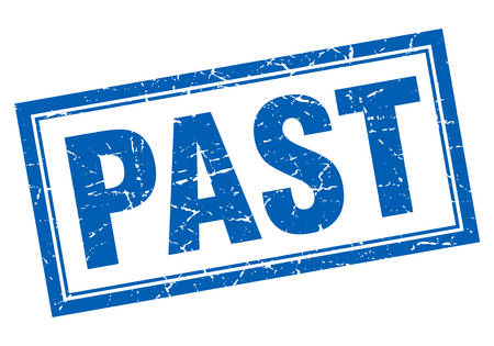 the past: past blue square grunge stamp on white