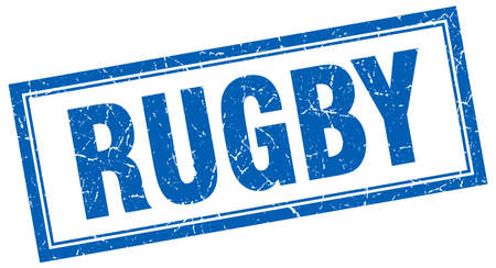 rugby: rugby blue square grunge stamp on white