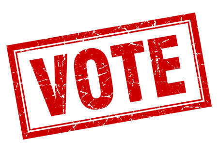 vote red square grunge stamp on white