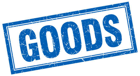 white goods: goods blue square grunge stamp on white
