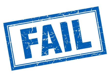 fail: fail blue square grunge stamp on white