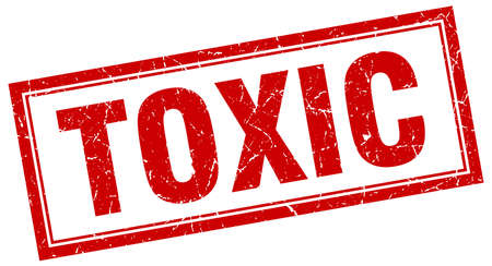 toxic: toxic red square grunge stamp on white Illustration