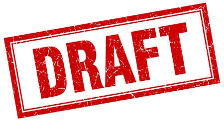 draft: draft red square grunge stamp on white Illustration