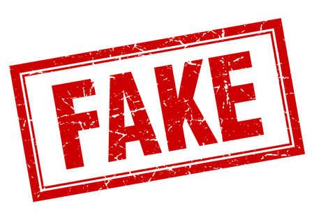 fake: fake red square grunge stamp on white