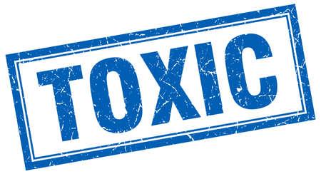toxic: toxic blue square grunge stamp on white