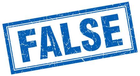 false: false blue square grunge stamp on white Illustration
