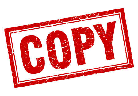 copy: copy red square grunge stamp on white