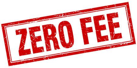 honorarios: zero fee red square grunge stamp on white