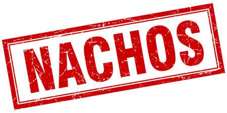 nachos: nachos red square grunge stamp on white Illustration