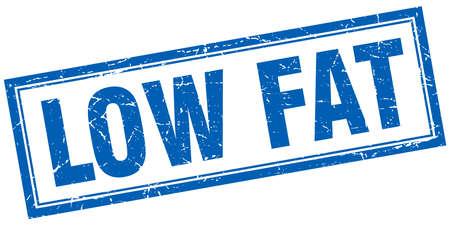 gordos: baja en grasas sello cuadrado azul del grunge en blanco Vectores