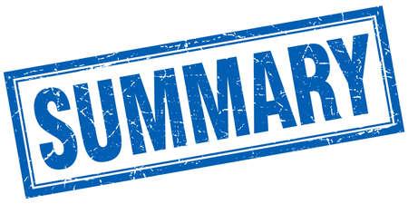 summary: summary blue square grunge stamp on white
