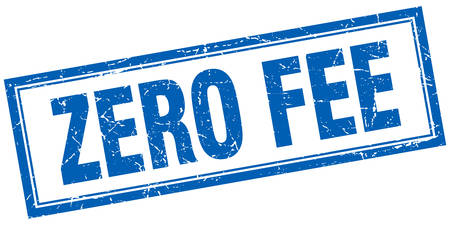 honorarios: zero fee blue square grunge stamp on white Vectores