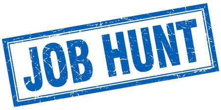 job hunt: job hunt blue square grunge stamp on white