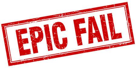 epic fail red square grunge stamp on white Illustration