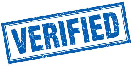 verified stamp: verified blue square grunge stamp on white Illustration