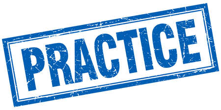 практика: practice blue square grunge stamp on white Иллюстрация