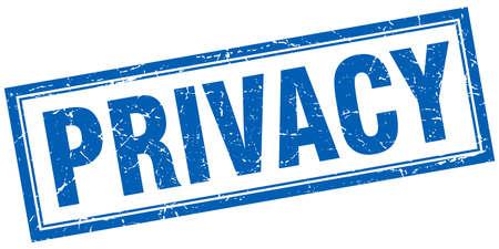 privacidad: sello azul privacidad cuadrados grunge en blanco