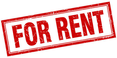 for rent: for rent red square grunge stamp on white