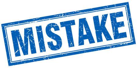 mistake: mistake blue square grunge stamp on white Illustration