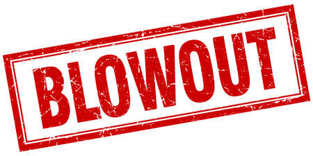 blowout: blowout red square grunge stamp on white