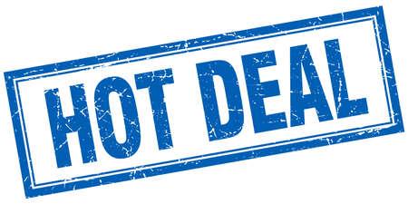 hot deal: hot deal blue square grunge stamp on white Illustration