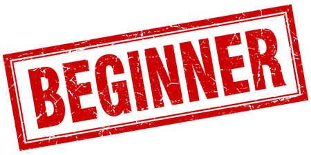 beginner: beginner red square grunge stamp on white Illustration