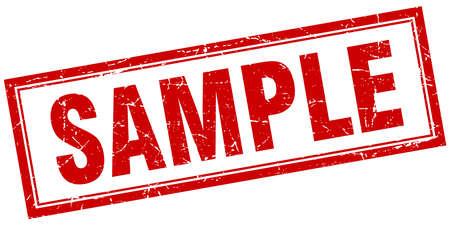 sample red square grunge stamp on white
