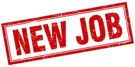 new job: new job red square grunge stamp on white