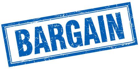 bargain: bargain blue square grunge stamp on white