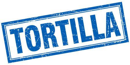 tortilla: tortilla blue square grunge stamp on white Illustration