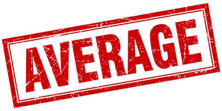 average: average red square grunge stamp on white