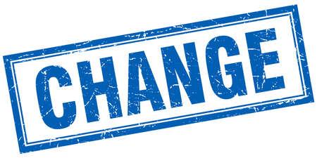 change blue square grunge stamp on white Illustration