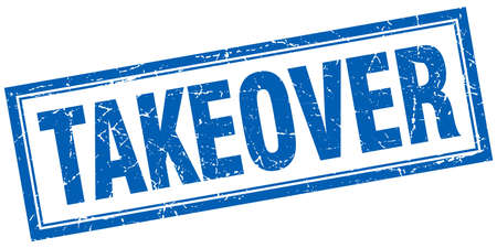 takeover: takeover blue square grunge stamp on white Illustration