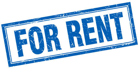 for rent: for rent blue square grunge stamp on white