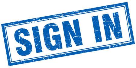 sign in: loggen Sie sich ein blaues Quadrat Grunge-Stempel auf wei� Illustration