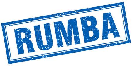 rumba: rumba blue square grunge stamp on white