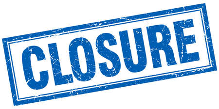 closure: closure blue square grunge stamp on white