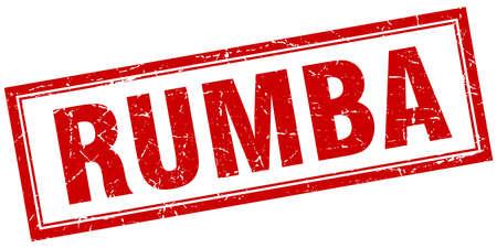 rumba: rumba red square grunge stamp on white