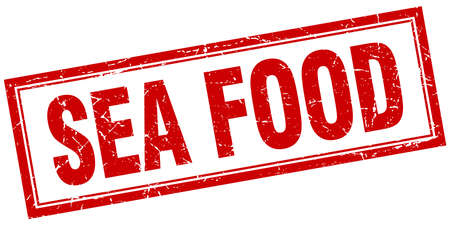 sea food: sea food red square grunge stamp on white