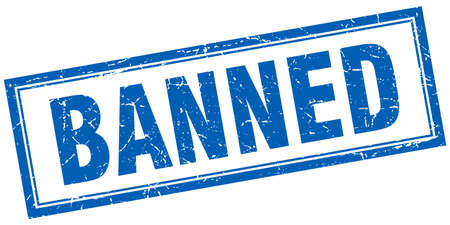 banned: banned blue square grunge stamp on white