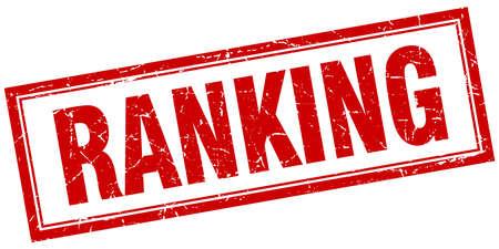 ranking: ranking red square grunge stamp on white