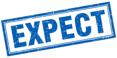 expect: expect blue square grunge stamp on white