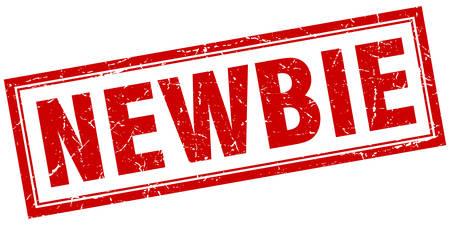 newbie: newbie red square grunge stamp on white Illustration